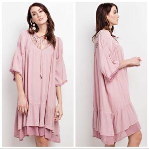 Dresses & Skirts - GIA FLOWY SOFT PINK 3/4 SLEEVE RUFFLED DRESS S M L
